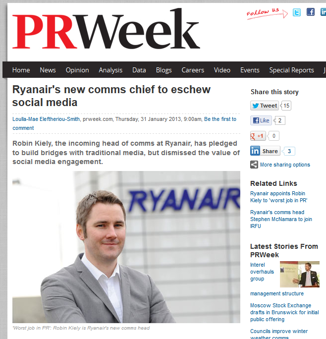 FireShot Screen Capture #127 - 'Ryanair's new comms chief to eschew social media I PR &amp; public relations news I PRWeek' - www_prweek_com_uk_bulletin_prweekukdaily_article_1168936_ryanairs-new-comms-chief-eschew-socia